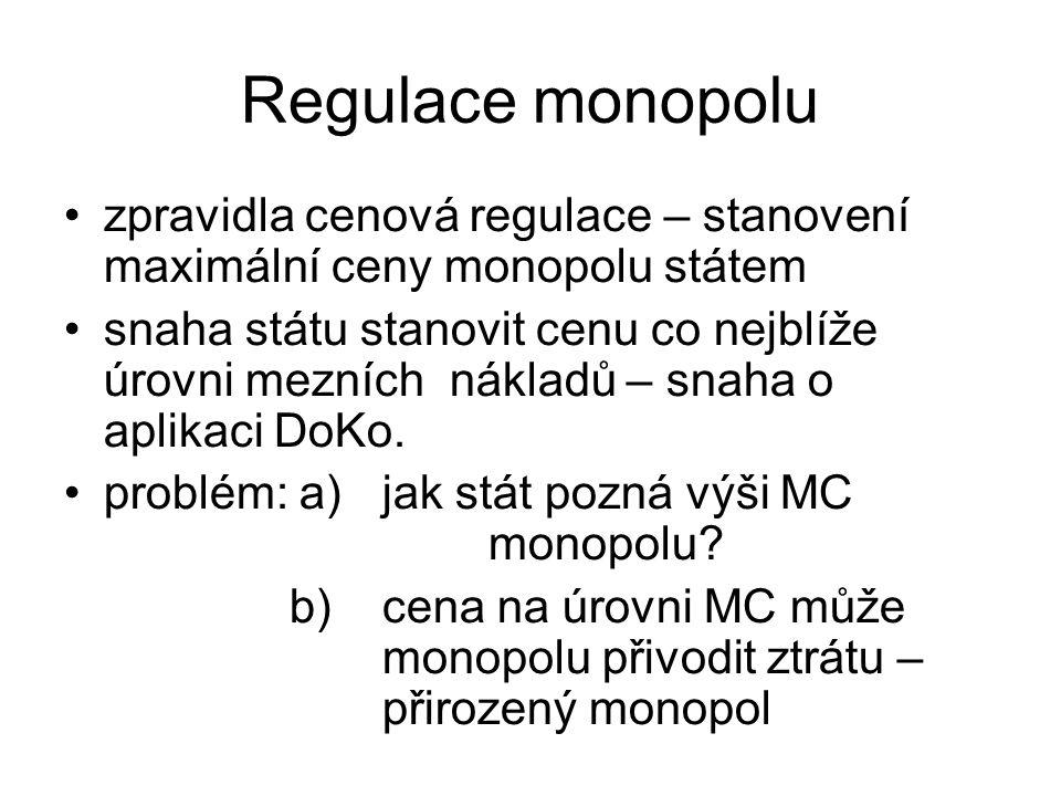 Regulace monopolu zpravidla cenová regulace – stanovení maximální ceny monopolu státem snaha státu stanovit cenu co nejblíže úrovni mezních nákladů – snaha o aplikaci DoKo.