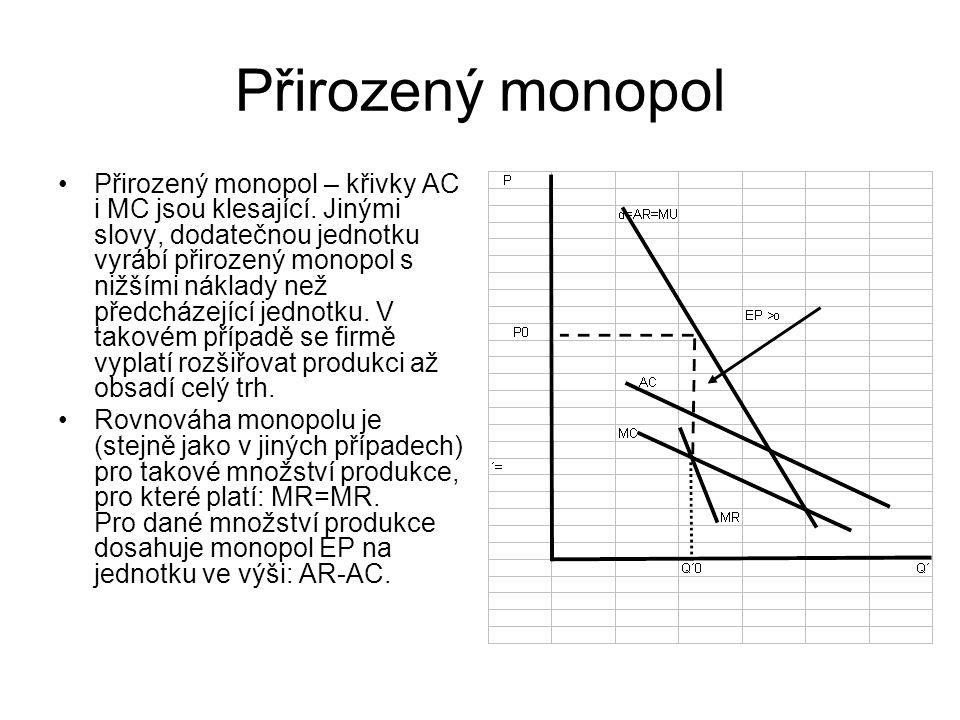 Přirozený monopol Přirozený monopol – křivky AC i MC jsou klesající.