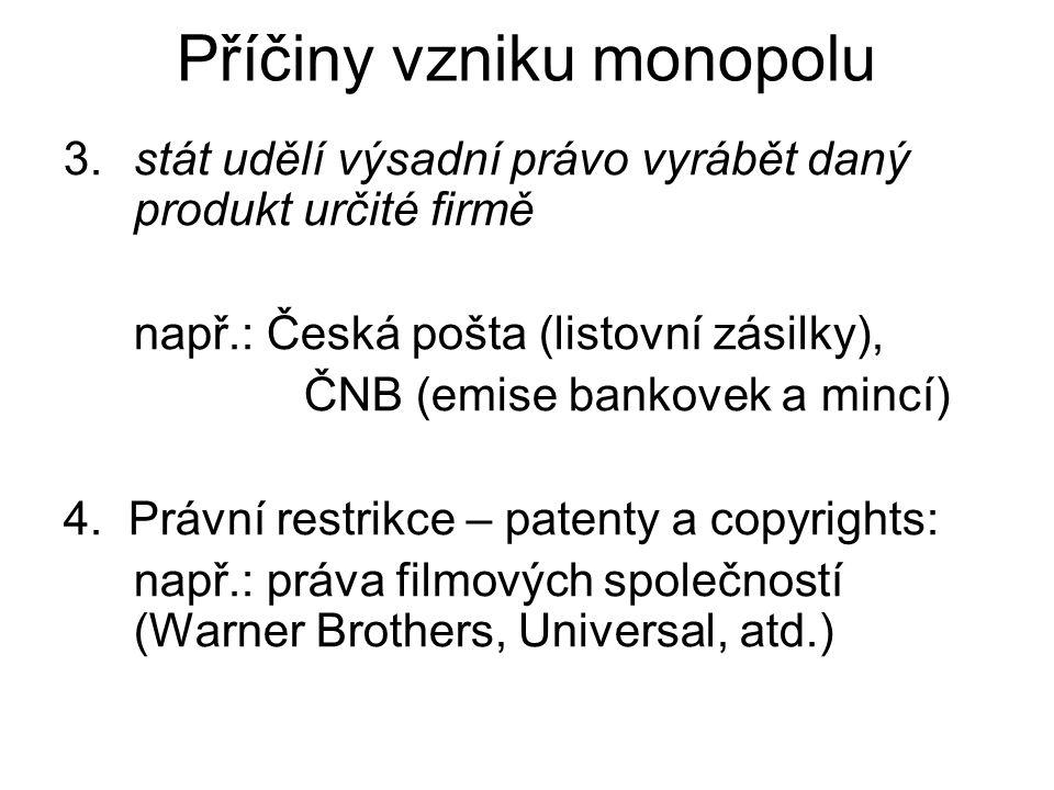 3.stát udělí výsadní právo vyrábět daný produkt určité firmě např.: Česká pošta (listovní zásilky), ČNB (emise bankovek a mincí) 4.