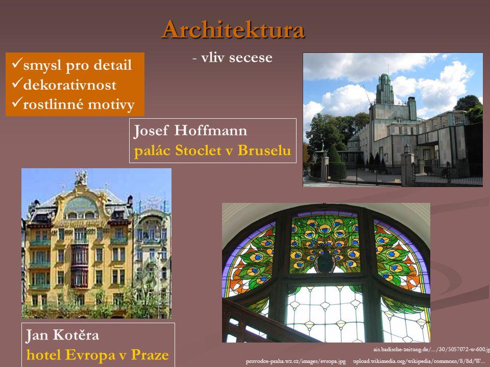 Architektura - vliv secese smysl pro detail dekorativnost rostlinné motivy Josef Hoffmann palác Stoclet v Bruselu upload.wikimedia.org/wikipedia/commons/8/8d/W...