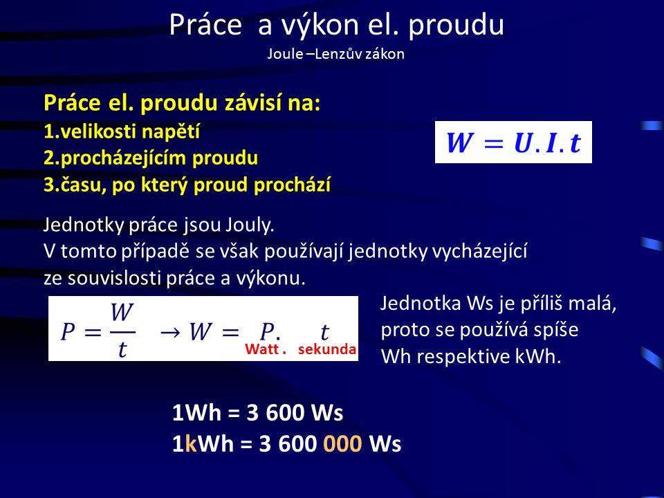Práce a výkon el.proudu Joule –Lenzův zákon Výkon el.