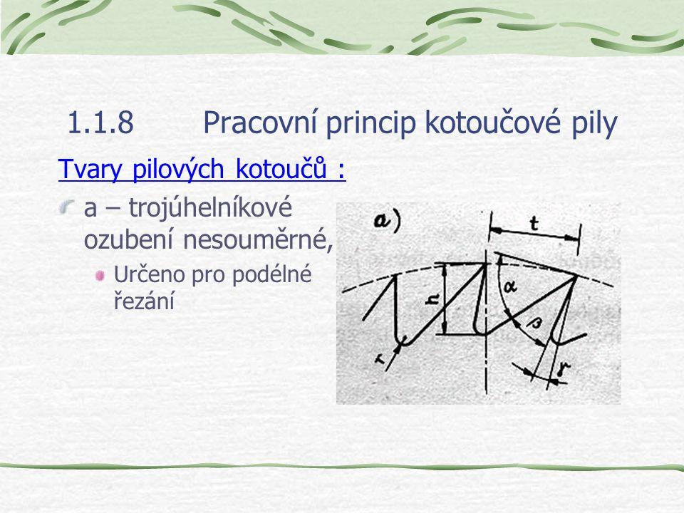 1.1.8Pracovní princip kotoučové pily Tvary pilových kotoučů : a – trojúhelníkové ozubení nesouměrné, Určeno pro podélné řezání