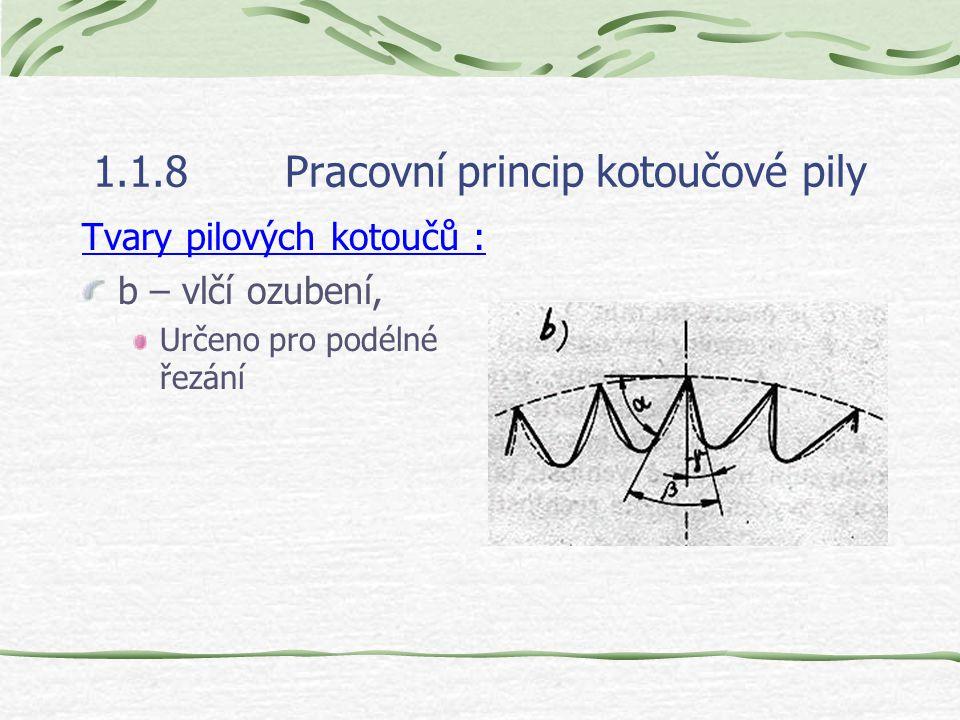 1.1.8Pracovní princip kotoučové pily Tvary pilových kotoučů : b – vlčí ozubení, Určeno pro podélné řezání
