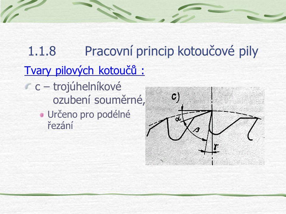 1.1.8Pracovní princip kotoučové pily Tvary pilových kotoučů : c – trojúhelníkové ozubení souměrné, Určeno pro podélné řezání