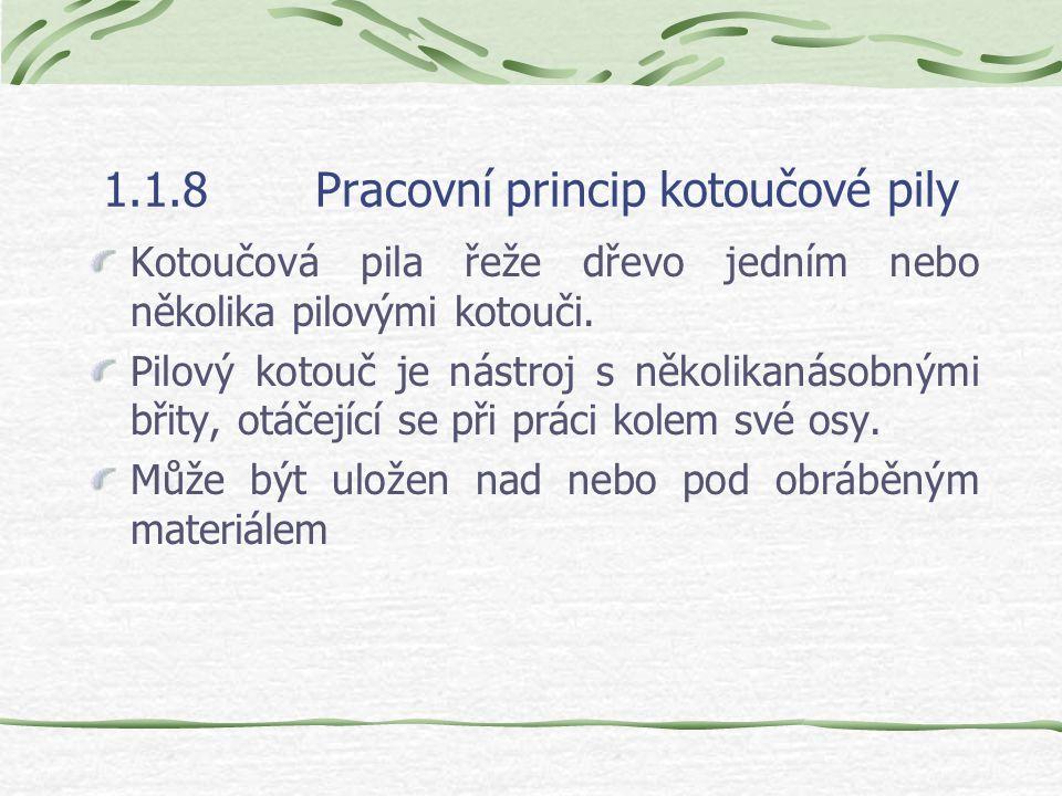 1.1.8Pracovní princip kotoučové pily Kotoučová pila řeže dřevo jedním nebo několika pilovými kotouči.