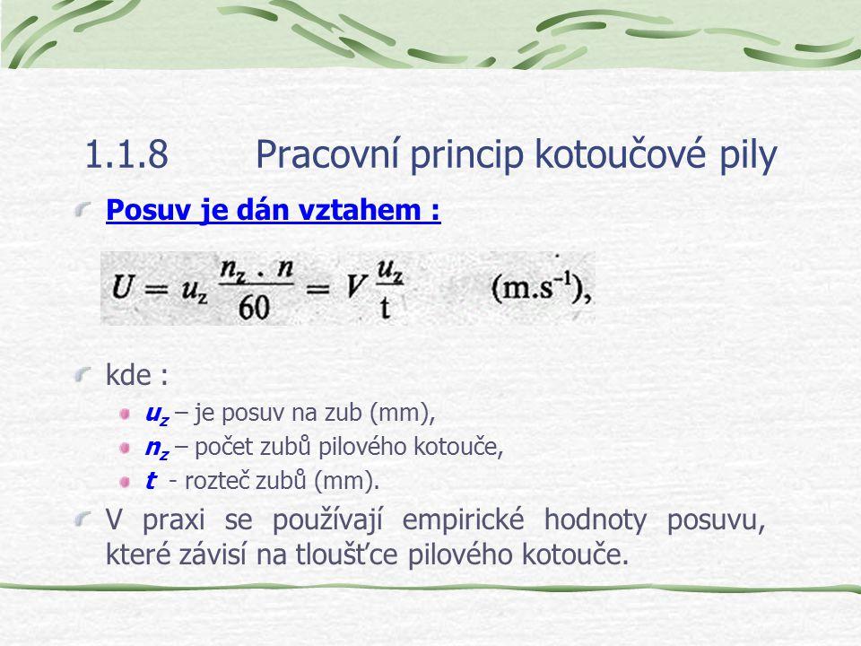 1.1.8Pracovní princip kotoučové pily Posuv je dán vztahem : kde : u z – je posuv na zub (mm), n z – počet zubů pilového kotouče, t - rozteč zubů (mm).