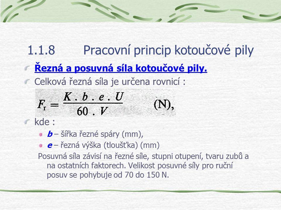 1.1.8Pracovní princip kotoučové pily Řezná a posuvná síla kotoučové pily.