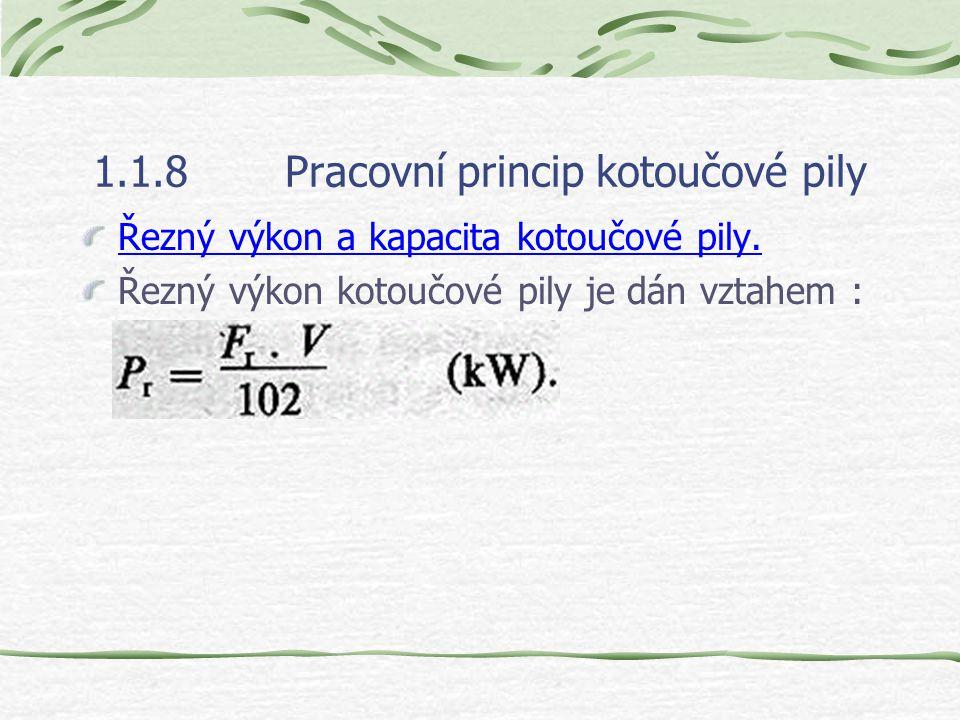 1.1.8Pracovní princip kotoučové pily Řezný výkon a kapacita kotoučové pily.