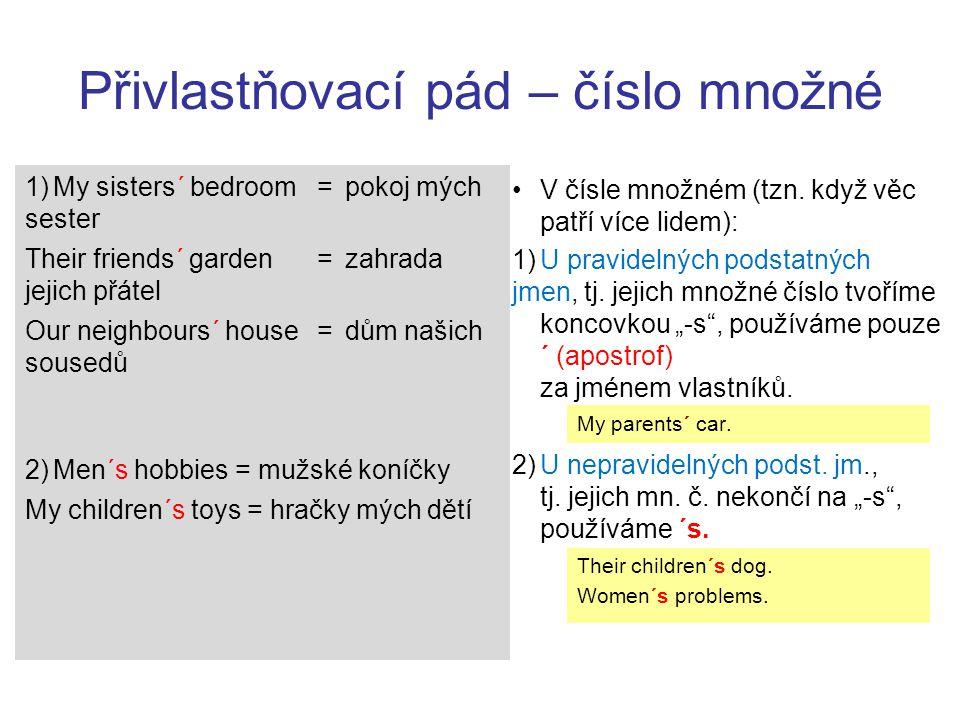 Přivlastňovací pád – číslo množné Úkol: Vyjádřete přivlastňovacím pádem a poté přeložte.