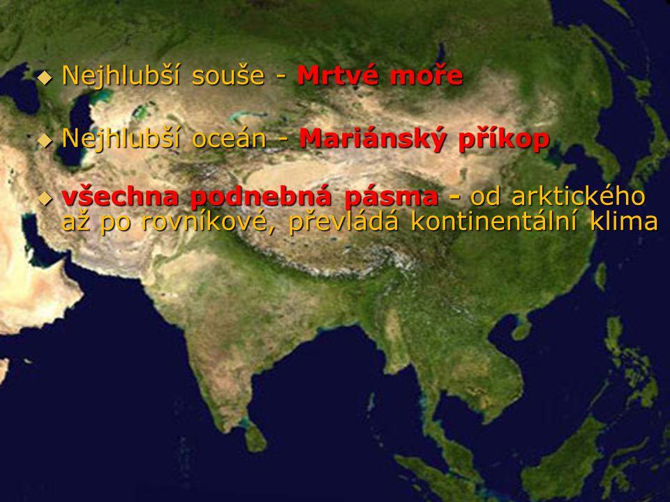  nížiny - zemědělství - Mezopotámská, Východočínská, Indoganžská - kolébka světové civilizace  vznik všech světových náboženství  obrovské zásoby nerostných surovin  hospodářství – zatím třetí světové centrum,vzestup  světové mocnosti: Rusko, Japonsko, Čína, Indie