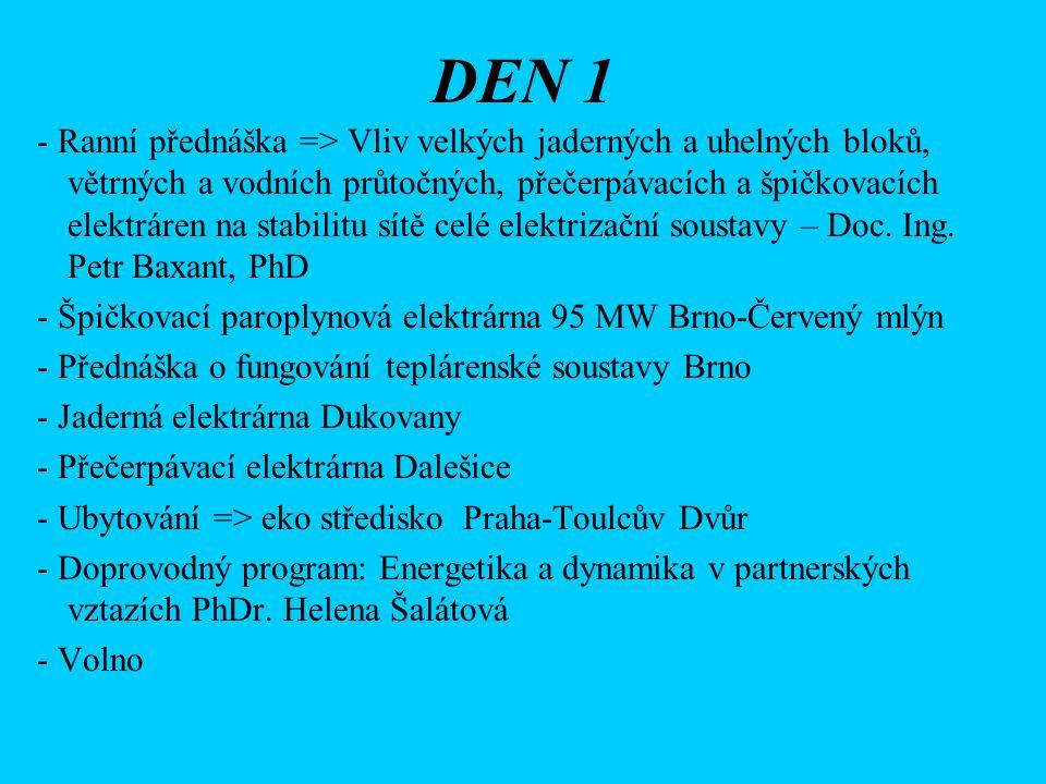 DEN 2 - Ranní přednáška a prohlídka ČEPSu - Areál vysokých škol v Dejvicích - VŠCHT => menza - ---II--- => laboratoře - ---II--- => Přednáška spoluúčastníka a studenta ISŠ Nová Paka – MEG bezpohyblivý elektromagnetický generátor => Přednáška E-ON - Doprovodný program: Energie na počátku a konci života, Radka Pantůčková, diplomovaná porodní asistentka, lektorka předporodních kurzů momentálně pracující na JIP - Peter a jeho hry - Volno