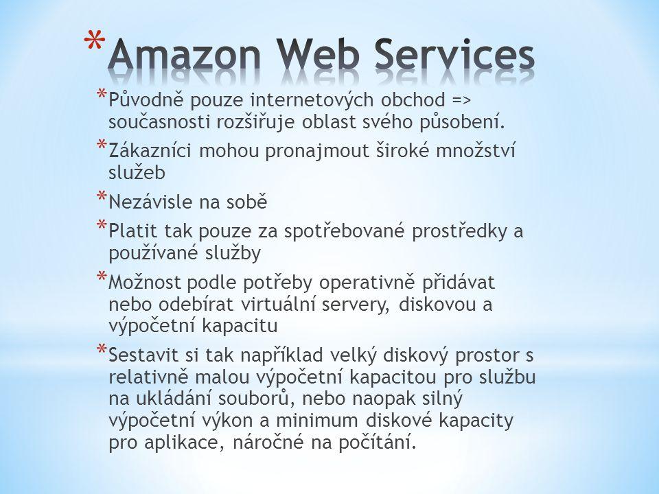 * Služby pro velké, robustní a dostupné webové aplikace * Weby založené na paralelním zpracování úloh * Služby lze snadno ovládat nejen přes web, ale i přes programové rozhraní (API) * Požadavky může posílat automatizovaně přímo vaše aplikace * Podle potřeby lze spouštět další servery nebo si nechat vytvořit celý nový virtuální počítač, provést nějakou náročnou operaci a počítač zase zrušit.