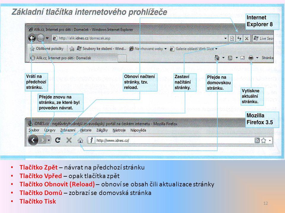 13 Další prvky prohlížeče Např.zprávy, počasí, TV program, odkazy aj..