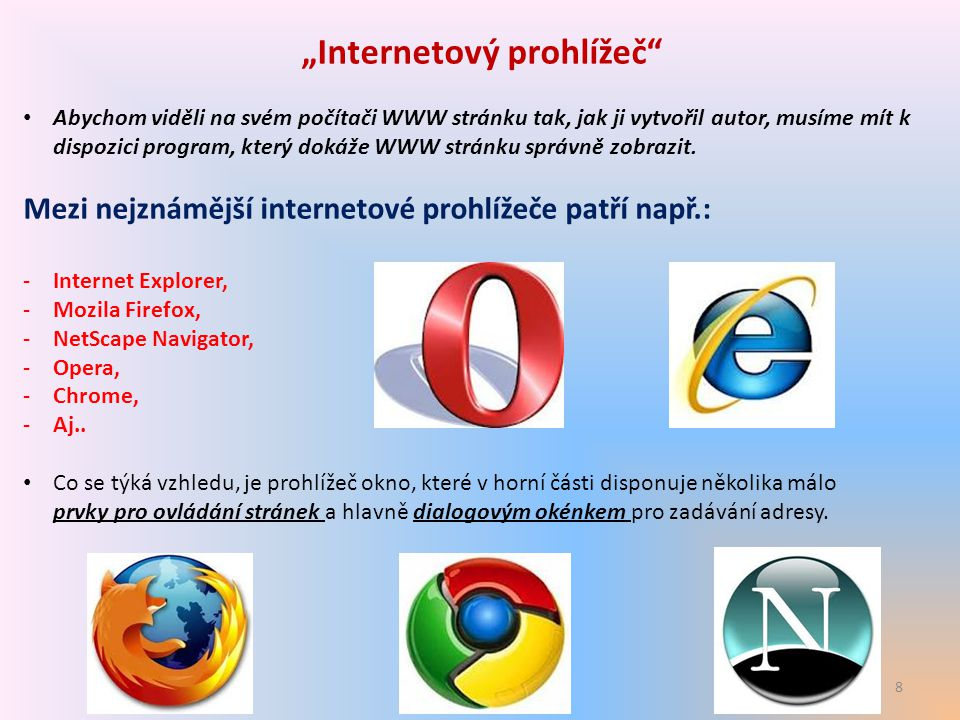9 2 typy internetového prohlížeče
