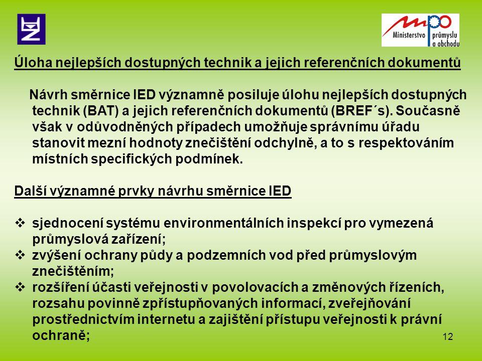 13  derogace termínu implementace přísnějších emisních limitů pro velká spalovací zařízení posunout do roku 2020 (v případě ukončení provozu do r.