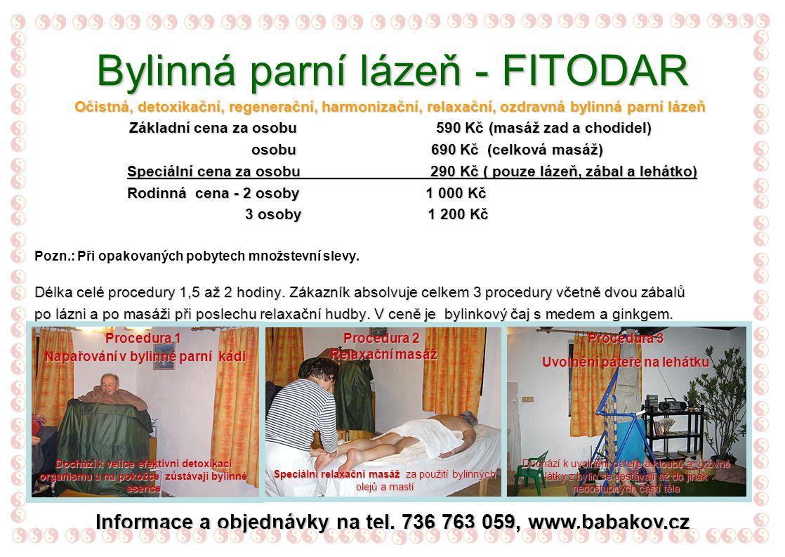 FITODAR Indikace a použití bylinné parní kádě 1.