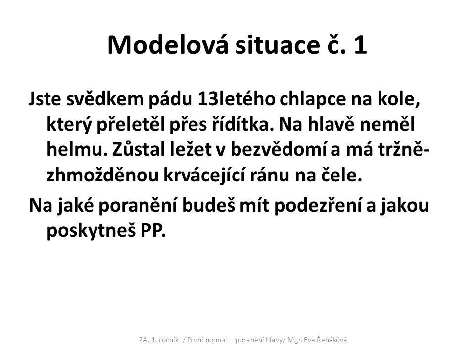 Modelová situace č.1 - řešení Dg. poranění hlavy /komoce/ event.