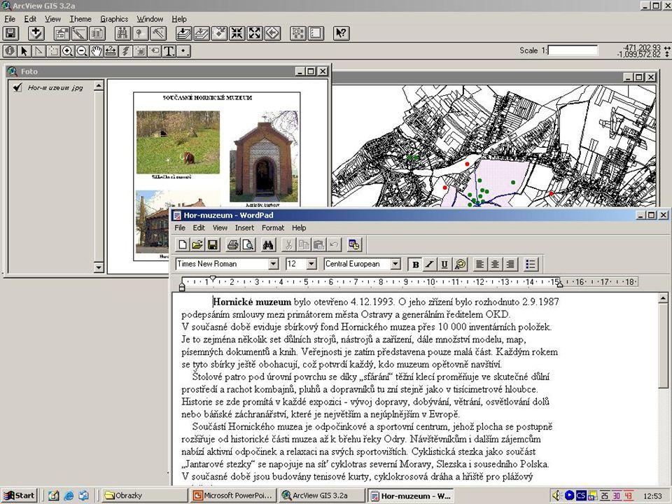 Publikace na WWW Teoreticky možnost prezentace na stránkách MMO Použití ArcIMS Funkce pro práci s mapou,vyhledávání, měření vzdáleností, externí reference, tisk, nápověda Úprava pomocí ArcXML a Java scriptů Přenos dat pomocí tenkého klienta