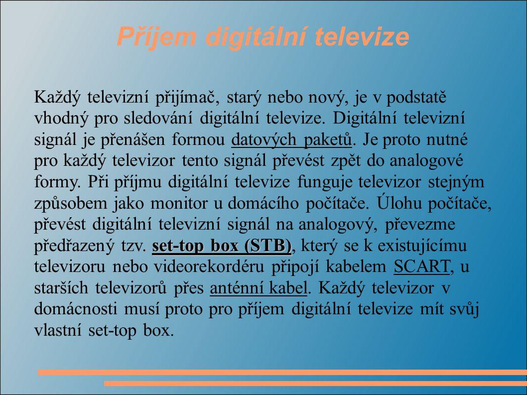Možnosti příjmu digitálního televizního vysílání