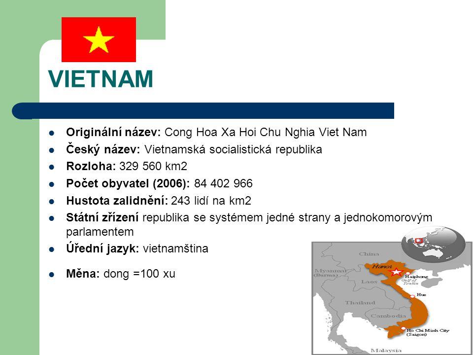 Poloha:Východní část poloostrova Zadní Indie Sousedící země: Laos, Kambodža, Čína Časové Pásmo: GTM +7 h Hlavní město: Hanoj (Ha Noi) Další města (tis.