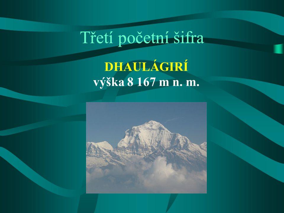 """Dhaulágirí sanskrtu """"Bílá hora sedmá nejvyšší hora světa leží v Himalájích, přesněji v Nepálu severozápadně od Pokhary, důležitého regionálního a turistického centra údolí řeky Kali Gandaki na jihovýchodě převyšuje o neuvěřitelných 7 000 výškových metrů jen na 30 km vzdálenosti prvovýstup dne 13."""