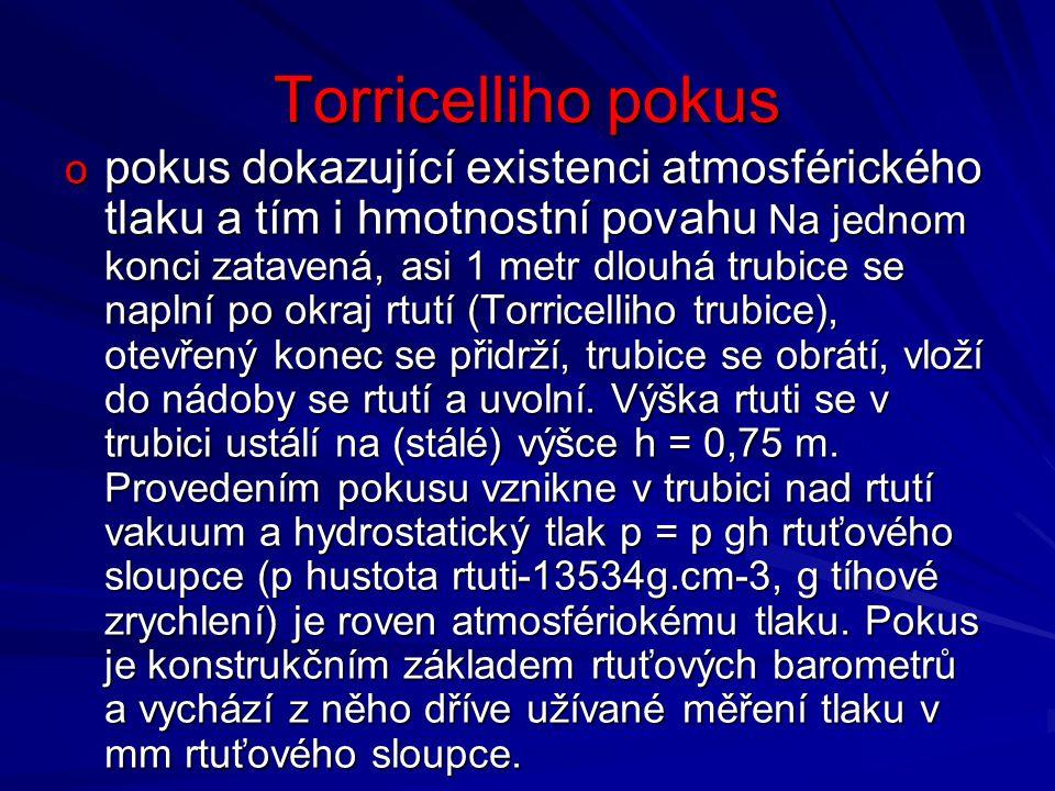 Torricelliho pokus p = h.ρ. g = 0,76. 13500. 10 = 102 600 Pa p = h.