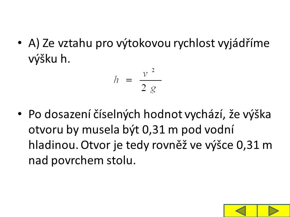 Jedná se o vrh vodorovný a vzdálenost dostřiku x je: Voda dostříkne do vzdálenosti 0,62 metrů.