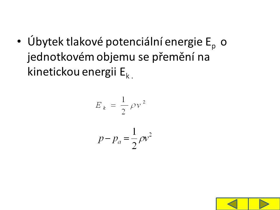 V hloubce h, ve které je otvor, je tlak p, pro který platí: Z rovnosti levých stran vyplývá: Výtoková rychlost je tak velká, jakou by získaly částice kapaliny při volném pádu z výšky h.