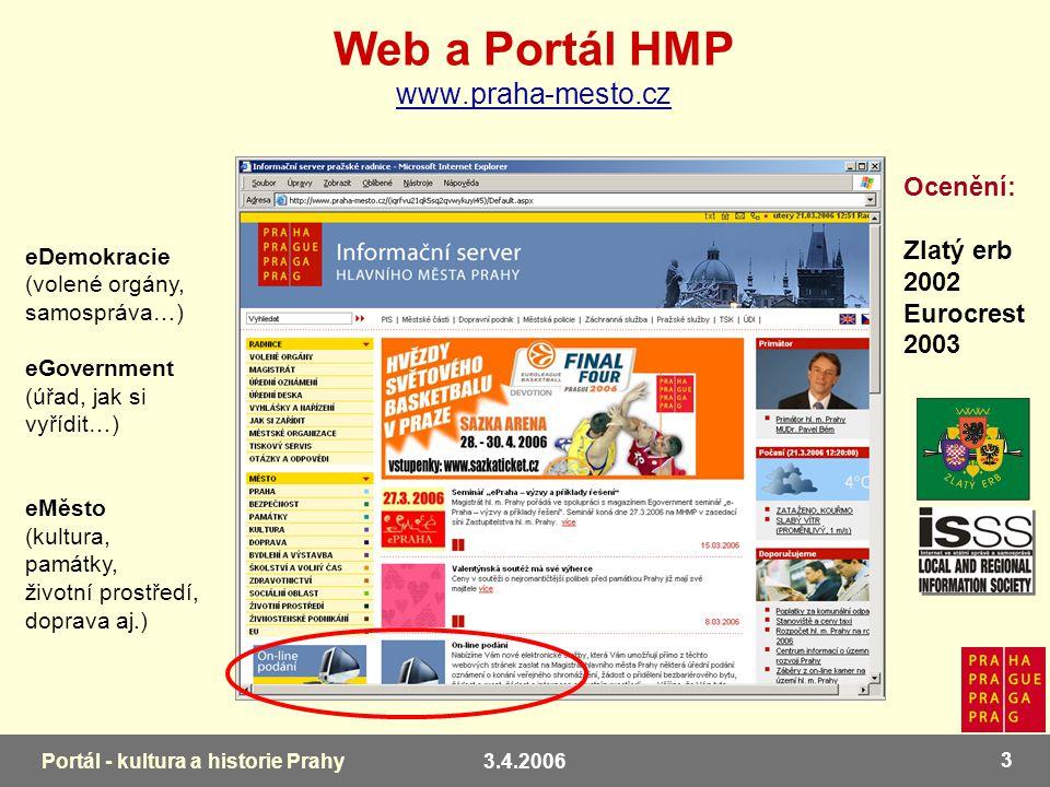 3.4.2006 4 Portál - kultura a historie Prahy Portálové řešení Registrace Oboustranná elektronická komunikace Autentizace - el.