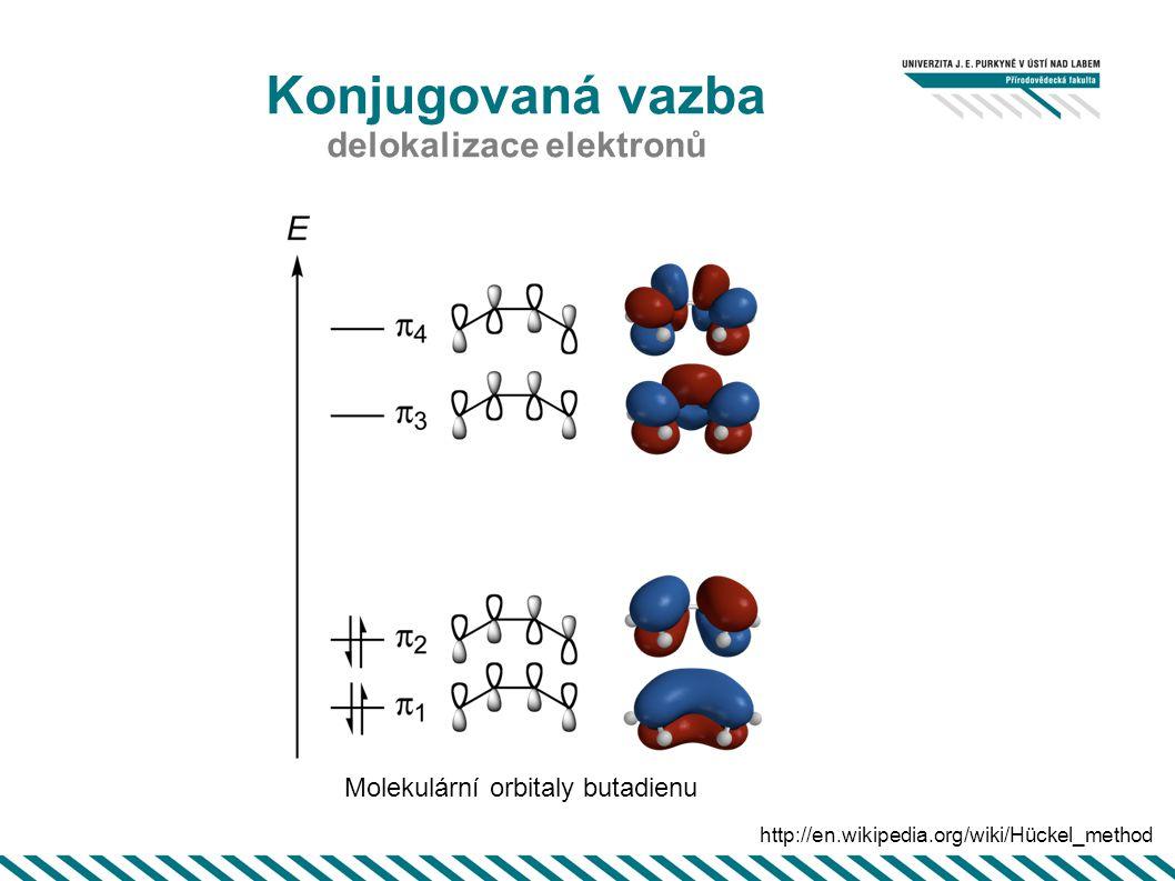 Konjugovaná vazba delokalizace elektronů http://courses.chem.psu.edu/chem210/mol-gallery/pi-systems/pisystems.html etylenallyl 1,3 butadien 1,3 pentadienyl hexatrien benzen E