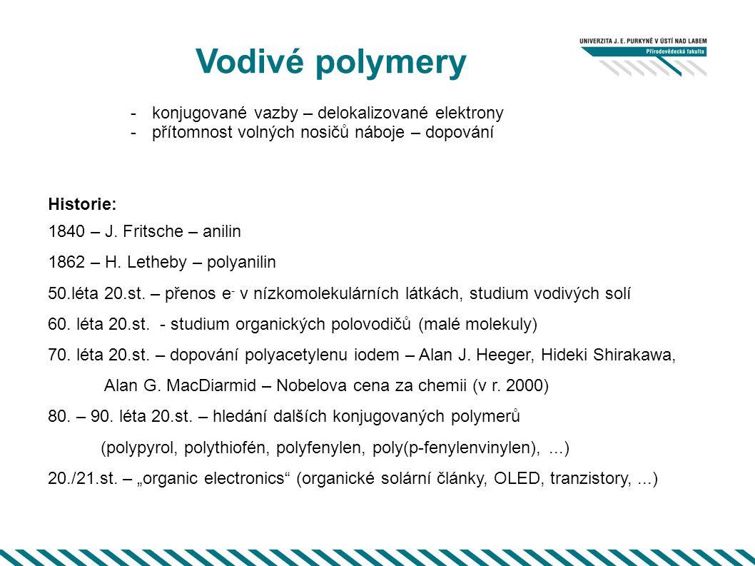 Vodivé polymery http://electrons.wikidot.com/create-new-page Vodivosti konjugovaných polymerů Nosiče v iodem dopovaném polyacetylenu