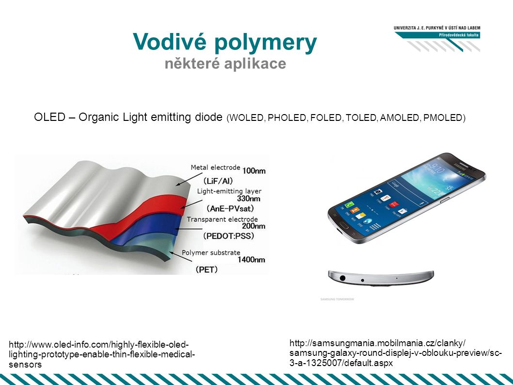 Vodivé polymery http://www.howstuffworks.com/oled3.htm PMOLED AMOLED