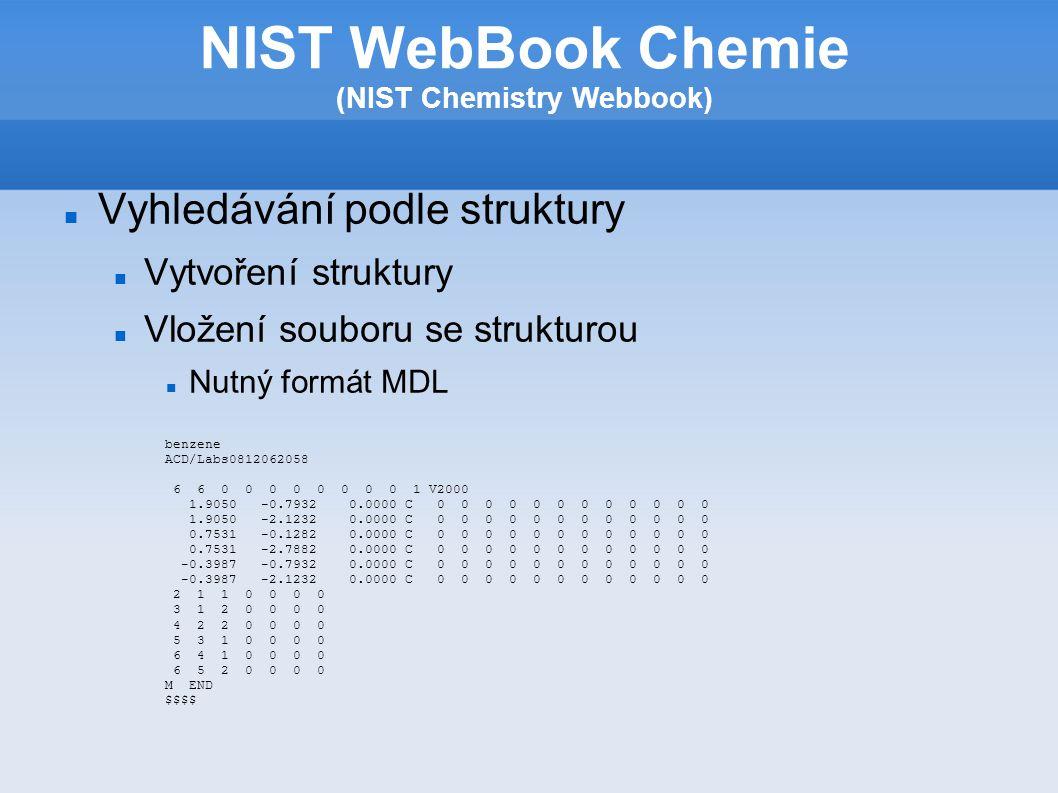 Vytvoření struktury- Možnosti Nakreslení pouze části struktury Využití šablon Určení vaznosti a maximálního počtu vodíků NIST WebBook Chemie (NIST Chemistry Webbook)