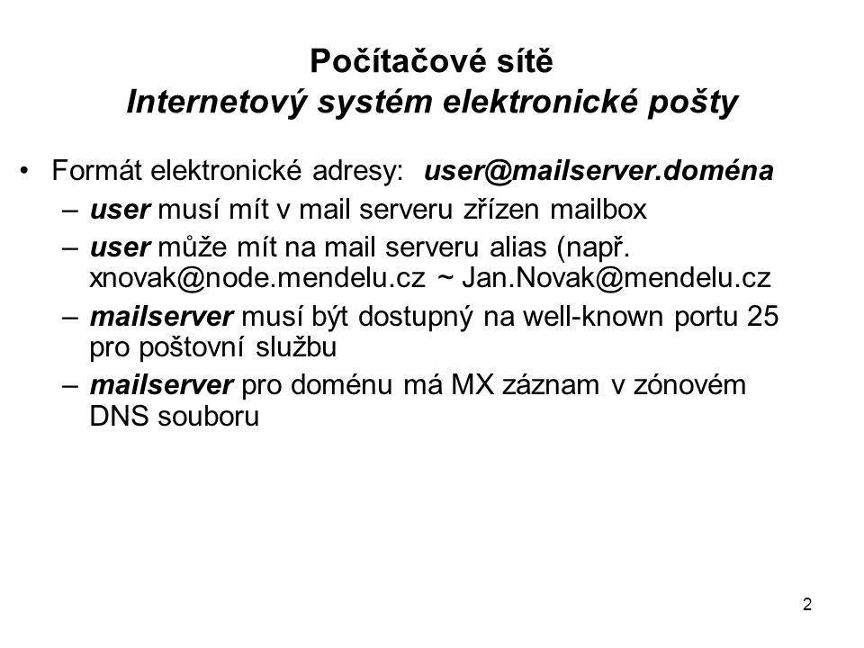 Počítačové sítě Internetový systém elektronické pošty E-mail komunikační model 3