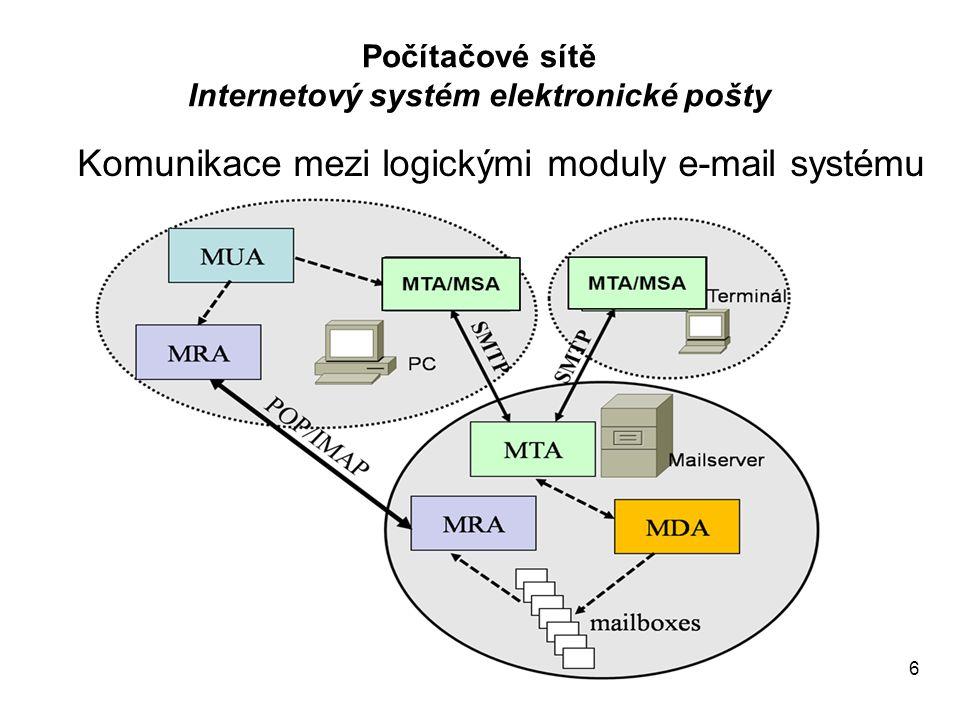 7 Systém SMTP relay Počítačové sítě Internetový systém elektronické pošty