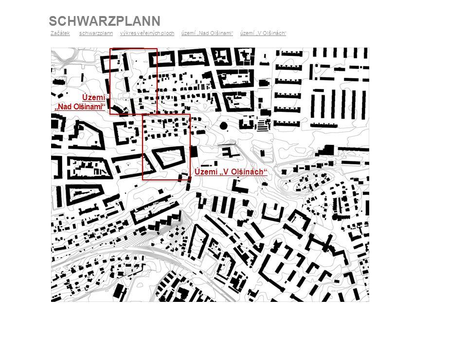 """VÝKRES VEŘEJNÝCH PLOCH ZačátekZačátek schwarzplann výkres veřejných ploch území """"Nad Olšinami území """"V Olšinách schwarzplannvýkres veřejných ploch"""