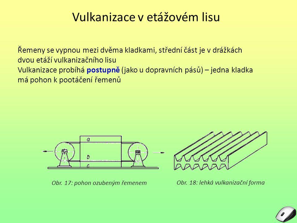 Vulkanizace v bubnovém lisu Klínový řemen je lisován a vulkanizován v klínové drážce vulkanizačního bubnu.