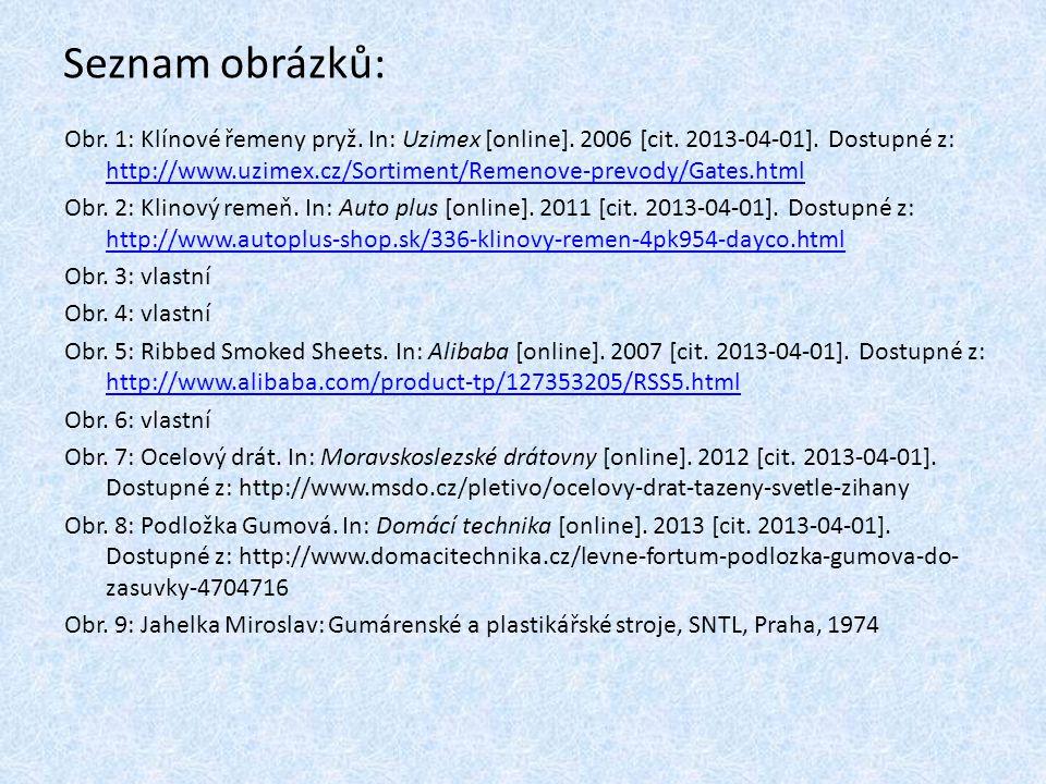 Seznam obrázků: Obr.10: Jahelka Miroslav: Gumárenské a plastikářské stroje, SNTL, Praha, 1974 Obr.