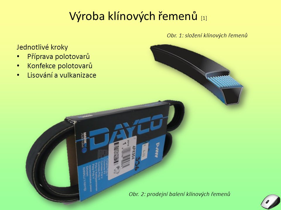 Příprava polotovarů Komponenty pro výrobu klínových řemenů Zábalové ségly Jádro Kostra Nárazník Obr.