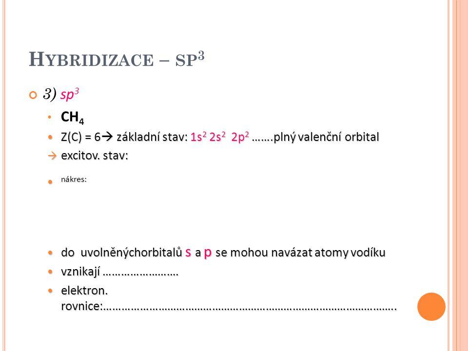 "V ZNIK KOVALENTNÍCH VAZEB SIGMA MEZI ATOMY V MOLEKULE CH 4 atomu uhlíku dodáme energii, dojde tak k "" přeskoku "" elektronu z orbitalu 2s do orbitalu s vyšší energii (2p) poté se orbitaly energeticky sjednotí – vznikají tak hybridizované orbitaly 2s 2px 2p y 2p z – hybridizace sp 3 molekula methanu má tvar tetraedru vazebný úhel = 109° dále např."