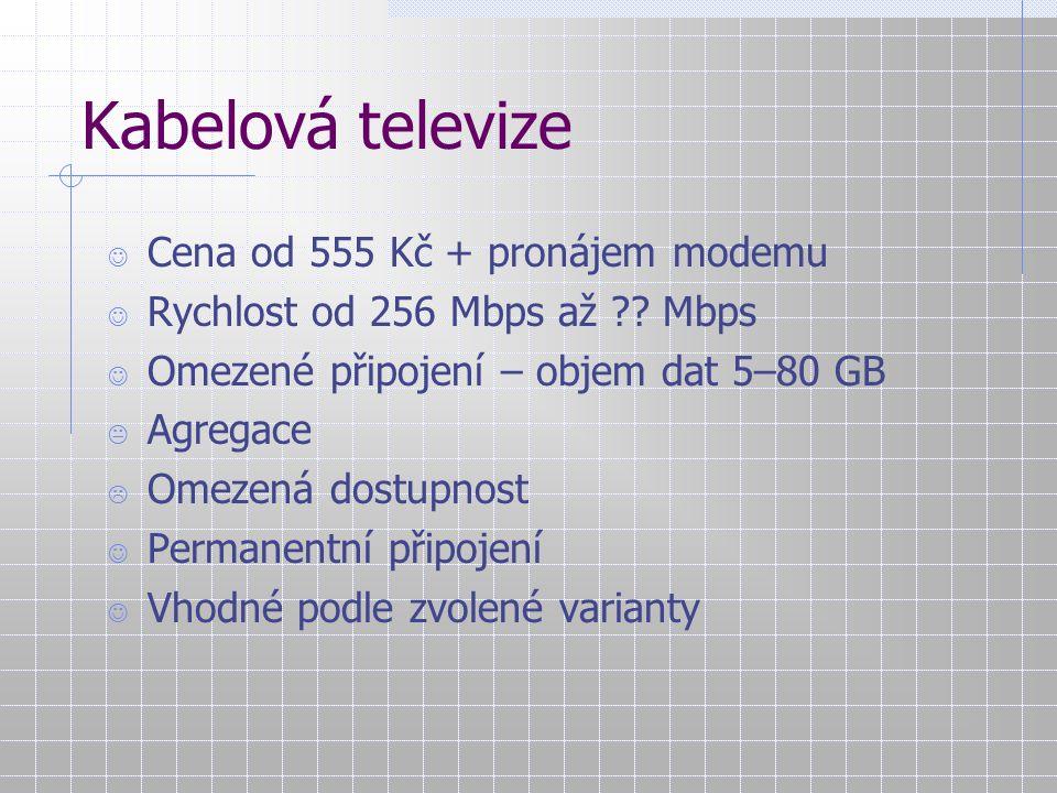 Cena – Rychlost – Dostupnost Cena RychlostDostupnost Modem ISDNADSL WiFi GPRS Pevná linka Kabelová televize