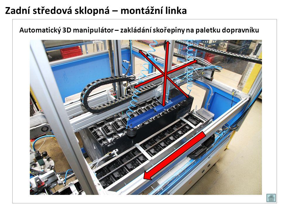 Zadní středová sklopná – montážní linka Automatická šroubovací stanice, uzavření modulu čtyřmi šrouby 4 šrouby