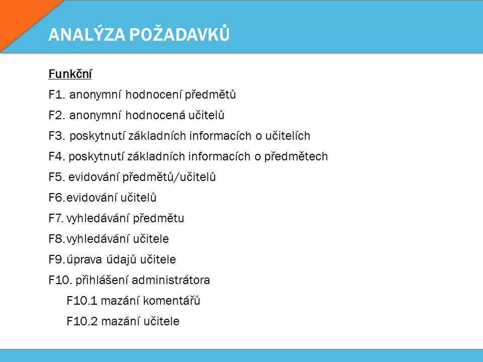 ANALÝZA POŽADAVKŮ Obecné N1.dostupné jako webová aplikace N2.