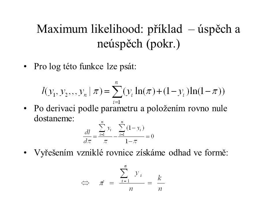 Maximum likelihood: příklad – úspěch a neúspěch Zajímavější je situace, jestliže  je funkcí nějakých parametrů: máme např.: Nalezení maxima věrohodnostní funkce je pak složitější a musí se hledat iterativně, jedná se o nelineární optimalizaci funkce ve tvaru: To je případ logistické regrese