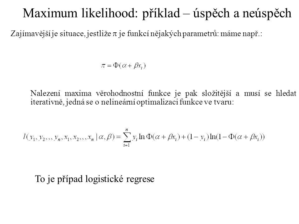 Pro normální rozložení hledáme odhady parametrů (spojité rozložení) Věrohodnostní funkce má tvar pro n pozorování y=(y 1,y 2,,,y n ), jestliže logaritmujeme: Derivujeme parciálně podle průměru a směrodatné odchylky: První lze získat nezávisle na druhém řešení: