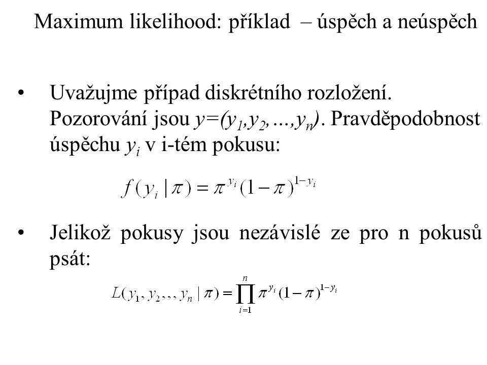 Maximum likelihood: příklad – úspěch a neúspěch (pokr.) Pro log této funkce lze psát: Po derivaci podle parametru a položením rovno nule dostaneme: Vyřešením vzniklé rovnice získáme odhad ve formě: