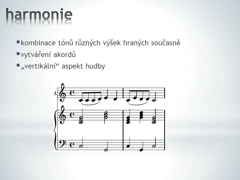  zvuková intenzita hudební skladby  dynamické značky pianissimo (pp) – velmi slabě piano (p) – slabě mezzopiano (mp) – poloslabě mezzoforte (mƒ) – polosilně forte (ƒ) – silně fortissimo (ƒƒ) – velmi silně crescendo (cresc.) – zesilovat decrescendo (decresc.) – zeslabovat
