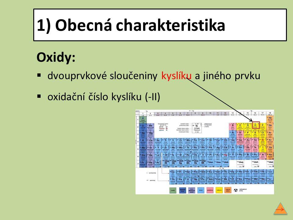 2) Obecný vzorec M x O y Msymbol atomu prvku (kromě kyslíku) Osymbol atomu kyslíku x, ystechiometrické koeficienty