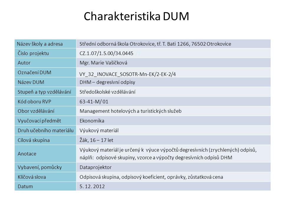 DHM – degresívní odpisy Náplň výuky vzorce pro degresívní odpisy odpisové skupiny odpisové koeficienty