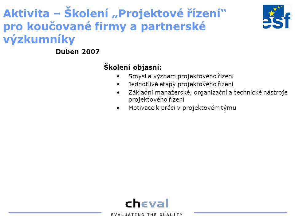 Definice konkrétních inovačních záměrů na základě doposud získaných informací Aktivita – Koučink generování inovačních záměrů Duben – květen 2007